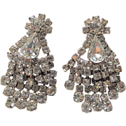 Large Vintage 1950s Chandelier Rhinestone Clip Earrings