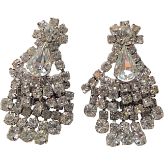 Large Vintage 1950s Chandelier Rhinestone Clip Earrings