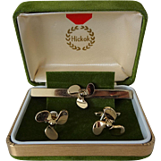 Hickok Airplane Propeller Cuff Links Tie Clip Vintage 1950s Mens Jewelry Set Mid Century MCM Presentation Box Signed