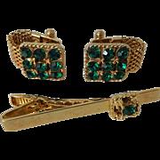 Bold Cuff Links Cufflinks Tie Clip Vintage 1970s Gold Tone Emerald Green Rhinestone Mens Unisex Jewelry Set