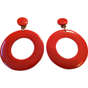 Huge Mod Twiggy Red Clip Earrings Vintage 1960s Shoulder Duster Jewelry Pair
