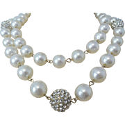 Faux Pearl Rhinestone Necklace Vintage 1950s Two Strand Bubblegum Beads