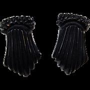 Black Art Deco Bakelite Dress Clips Vintage 1940s Set Pair