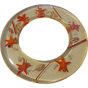Lucite Bracelet Vintage 1960s Starfish Seashell Disc Bangle