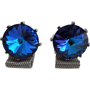 Dante Blue Rivoli Cuff Links Cufflinks Vintage 1960s Mens Mesh Jewelry Set Pair