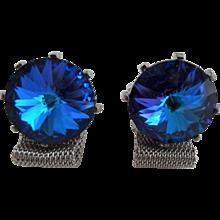 Dante Blue Rivoli Cuff Links Cufflinks Vintage 1960s Mens Mesh Jewelry Set Pair