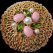 Huge Sarah Coventry Brooch Vintage 1970s Fashion Splendor Pin