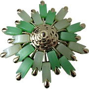 Coro Thermoset Lucite Brooch Vintage 1950s Green Atomic Mid Century Modern