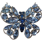 Blue Cobalt Rhinestone Butterfly Brooch Vintage 1950s Sparkling Pin
