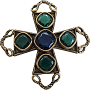 Large Jewelry Maltese Cross Pin Vintage 1970s Cobalt Emerald Class Stones