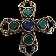 Large Jewelry Maltese Cross Pin Vintage 1970s Cobalt Emerald Class Stones