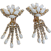 Art Deco Statement Dangle Earrings Vintage 1940s White Milk Glass Rhinestone Clip