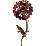 Rhinestone Flower Pin Brooch Vintage 1960s Large Pink Ruby Gold Gilt