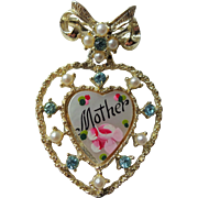 Mother Sweetheart Pin Brooch Vintage 1940s Mom MOP Mother of Pearl Heart Drop Dangle