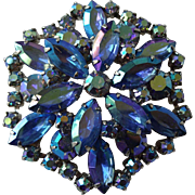 Cobalt Blue Rhinestone Brooch Vintage 1950s Large Aurora Borealis Shimmery Pin