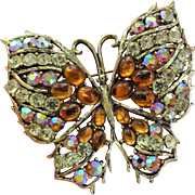 Huge Weiss Butterfly Brooch Amber Aurora Borealis Signed Jewelry Pin