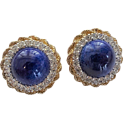 Panetta Earrings Vintage 1950s Cobalt Blue Cabochon Austrian Crystal Rhinestones Signed Clips
