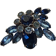 Vintage 1950s Cobalt Blue Pin Brooch Mixed Stones