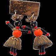 Ethnic Doll Pin Vintage 1960s West Indies Grenada Nutmeg Figural Jewelry Brooch