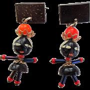 Vintage Scatter Pins Ethnic Nutmeg Dolls Drop Dangle Brooch