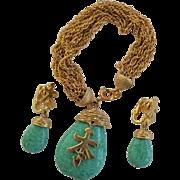 Vintage Crown Trifari Jewelry Set Bracelet Earrings Green Peking Glass Asian Charm Demi Parure 1960s Rare