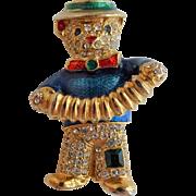 Teddy Bear Pin Brooch Vintage 1980s Enamel Rhinestone Accordion Clown