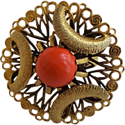 Mod Orange Ring Vintage 1960s Gold Filigree Flower Adjustable Costume Jewelry