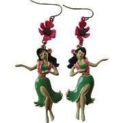 Hawaiian Earrings Vintage 1980s Articulated Enamel Hibisuc Hula Dancers Pierced