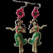 Hawaiian Earrings Vintage 1980s Articulated Enamel Hibisuc Hula Dancers Pierced