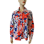 Vintage 1970s Floral Blouse RWB Red White Blue Pointed Collar