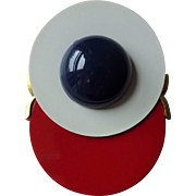 HOLD For Carly: Mod Brooch Vintage 1970s Red White Blue Patriotic Cabochon