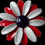 Patriotic Flower Pin Vintage 1960s Daisy Metal RWB Red White Blue