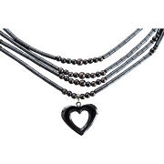 Four Strand Hematite Necklace Heart Pendant Stress Relief Natural Healing