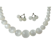 White Moonglow Jewelry Demi Parure Vintage 1950s Graduated Necklace Screwback Earrings