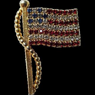 Patriotic Flag Pin Rhinestone Vintage 1960s American USA