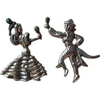 Flamenco Dancers Scatter Pins Vintage 1940s Mexico Silver Sterling SS .925 Green Turquoise