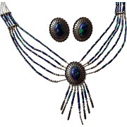 Native American Southwest Sterling Silver SS Demi Parure Necklace Pierced Earrings Azure Malachite Jewelry Set