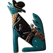 Rockabilly Howling Wolf Brooch Vintage 1980s Moulin Rouge Cowboy Holster Pistol Enamel Signed