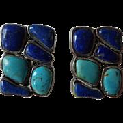 Sterling Lapis Turquoise Clip Earrings Vintage 1940s Southwest Design