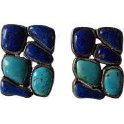 Sterling Lapis Turquoise Clip Earrings Vintage 1940s Southwest Design