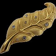 Signed Swarovski Crystal Vintage 1980s Gold Tone Leaf Brooch Pin Swan