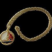 Nautical Sailboat Pendant Chain Necklace Vintage 1970s Enamel RWB Patriotic Holiday