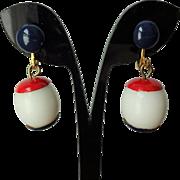 Mod Earrings Vintage 1960s Nautical Patriotic Red White Blue Drop Dangle Clip