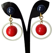 Mod RWB Dangle Earrings Vintage 1960s Clip Red White Blue Nautical Patriotic Ring Ball