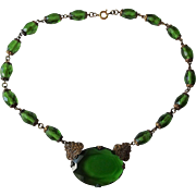 HOLD For Carolyn: Emerald Green Czech Glass Necklace Vintage 1940s Art  Deco Choker