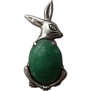Mexico Silver Rabbit Brooch Pin Vintage 1940s Green Turquoise Cabochon