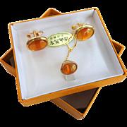 Mens Cuff Links Tie Tack Set Vintage 1960s Dead Stock NIB Amber Gold Tone Jewelry Set