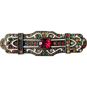 Art Deco Rhinestone Brooch Vintage 1930s Colorful Stones Bar Pin Brass