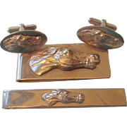 Vintage 1960s Mens Horse Jewelry Set Money Clip Cuff Links Tie Clip