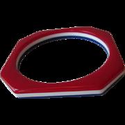 Patriotic Lucite Bangle Bracelet Vintage 1960s Mod Red White Blue Laminated Stripes